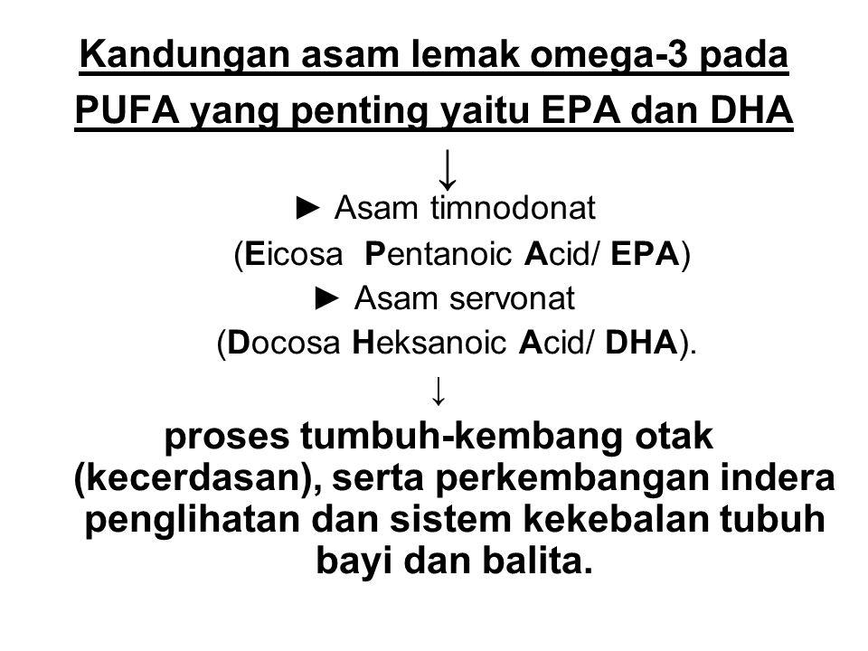 Kandungan asam lemak omega-3 pada PUFA yang penting yaitu EPA dan DHA ↓ ► Asam timnodonat (Eicosa Pentanoic Acid/ EPA) ► Asam servonat (Docosa Heksano