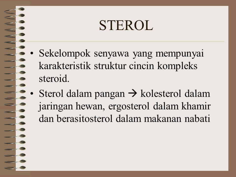 STEROL Sekelompok senyawa yang mempunyai karakteristik struktur cincin kompleks steroid. Sterol dalam pangan  kolesterol dalam jaringan hewan, ergost