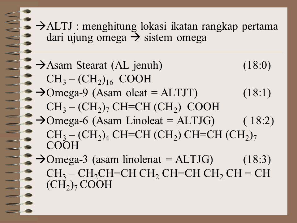  ALTJ : menghitung lokasi ikatan rangkap pertama dari ujung omega  sistem omega  Asam Stearat (AL jenuh)(18:0) CH 3 – (CH 2 ) 16 COOH  Omega-9 (As
