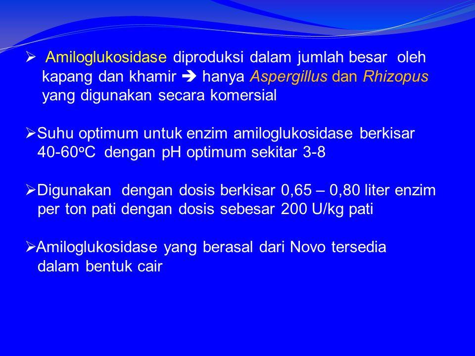  Amiloglukosidase diproduksi dalam jumlah besar oleh kapang dan khamir  hanya Aspergillus dan Rhizopus yang digunakan secara komersial  Suhu optimum untuk enzim amiloglukosidase berkisar 40-60 o C dengan pH optimum sekitar 3-8  Digunakan dengan dosis berkisar 0,65 – 0,80 liter enzim per ton pati dengan dosis sebesar 200 U/kg pati  Amiloglukosidase yang berasal dari Novo tersedia dalam bentuk cair