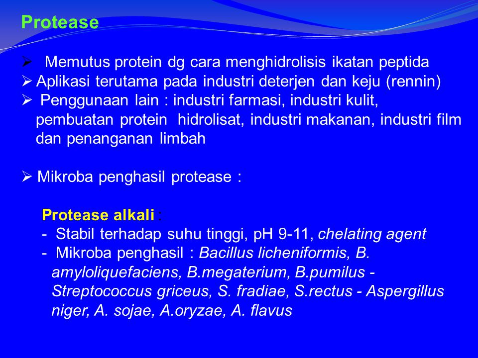 Protease  Memutus protein dg cara menghidrolisis ikatan peptida  Aplikasi terutama pada industri deterjen dan keju (rennin)  Penggunaan lain : industri farmasi, industri kulit, pembuatan protein hidrolisat, industri makanan, industri film dan penanganan limbah  Mikroba penghasil protease : Protease alkali : - Stabil terhadap suhu tinggi, pH 9-11, chelating agent - Mikroba penghasil : Bacillus licheniformis, B.