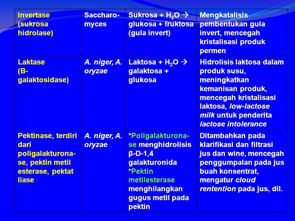 Invertase (sukrosa hidrolase) Saccharo- myces Sukrosa + H 2 O  glukosa + fruktosa (gula invert) Mengkatalisis pembentukan gula invert, mencegah kristalisasi produk permen Laktase (Β- galaktosidase) A.