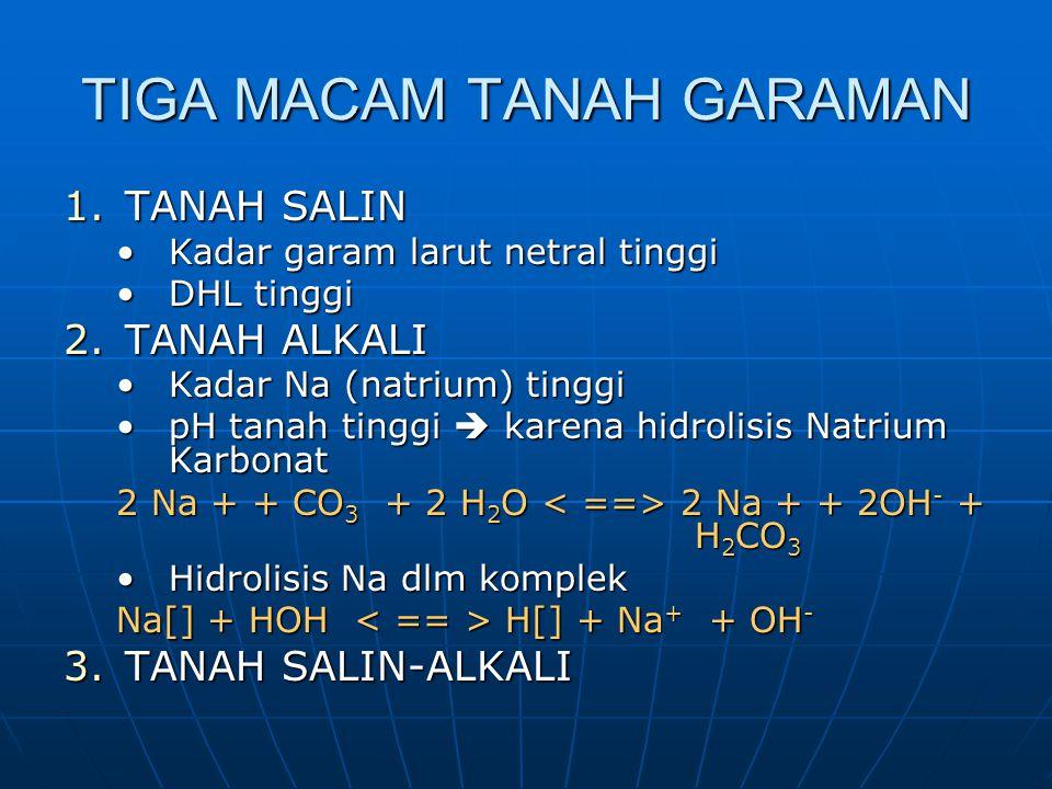 KENDALA TANAH GARAMAN 1.MEMPENGARUHI / MENGHAMBAT PERKECAMBAHAN 2.