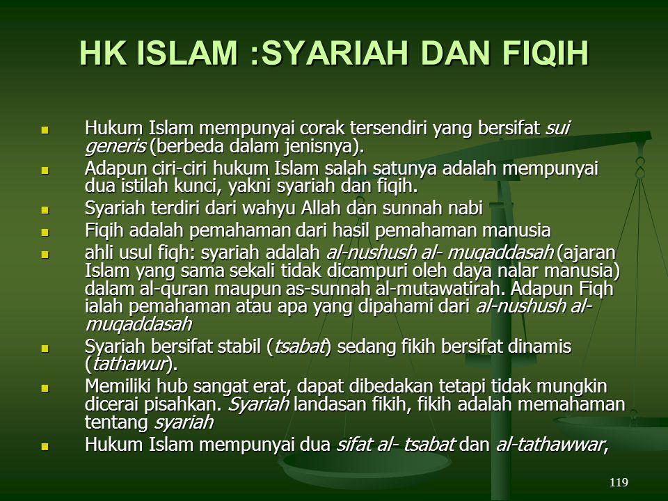 119 HK ISLAM :SYARIAH DAN FIQIH Hukum Islam mempunyai corak tersendiri yang bersifat sui generis (berbeda dalam jenisnya).