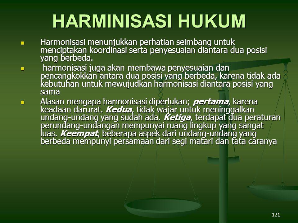 121 HARMINISASI HUKUM Harmonisasi menunjukkan perhatian seimbang untuk menciptakan koordinasi serta penyesuaian diantara dua posisi yang berbeda.