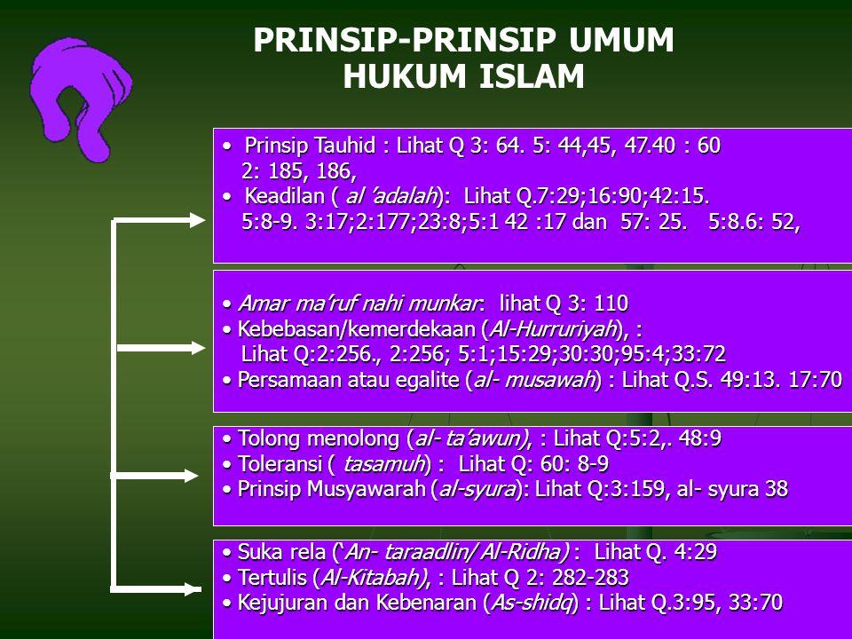 13 PRINSIP-PRINSIP UMUM HUKUM ISLAM Prinsip Tauhid : Lihat Q 3: 64.