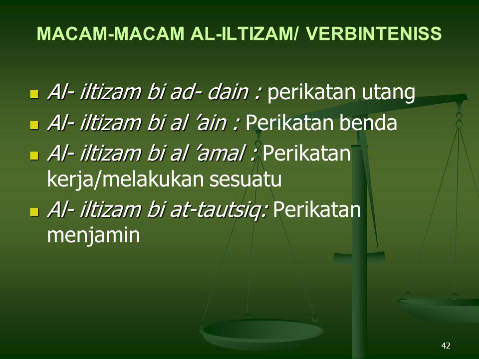 42 MACAM-MACAM AL-ILTIZAM/ VERBINTENISS Al- iltizam bi ad- dain : Al- iltizam bi ad- dain : perikatan utang Al- iltizam bi al 'ain : Al- iltizam bi al 'ain : Perikatan benda Al- iltizam bi al 'amal : Al- iltizam bi al 'amal : Perikatan kerja/melakukan sesuatu Al- iltizam bi at-tautsiq: Al- iltizam bi at-tautsiq: Perikatan menjamin
