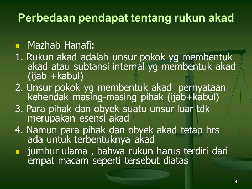 44 Perbedaan pendapat tentang rukun akad Mazhab Hanafi: 1.