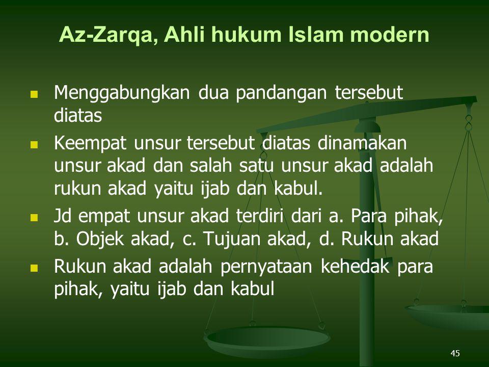 45 Az-Zarqa, Ahli hukum Islam modern Menggabungkan dua pandangan tersebut diatas Keempat unsur tersebut diatas dinamakan unsur akad dan salah satu unsur akad adalah rukun akad yaitu ijab dan kabul.