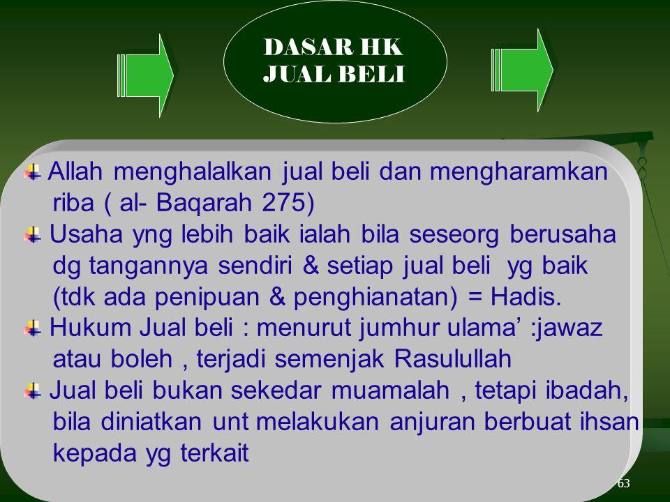 63 Allah menghalalkan jual beli dan mengharamkan riba ( al- Baqarah 275) Usaha yng lebih baik ialah bila seseorg berusaha dg tangannya sendiri & setiap jual beli yg baik (tdk ada penipuan & penghianatan) = Hadis.