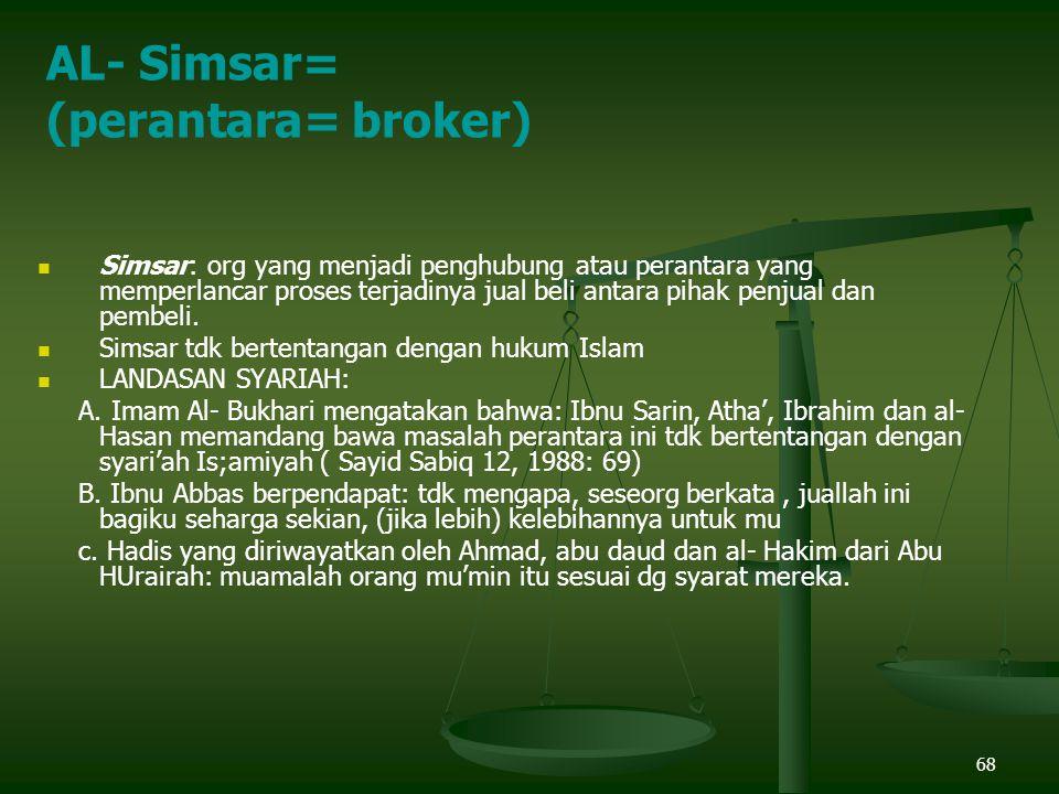 68 Simsar: org yang menjadi penghubung atau perantara yang memperlancar proses terjadinya jual beli antara pihak penjual dan pembeli.