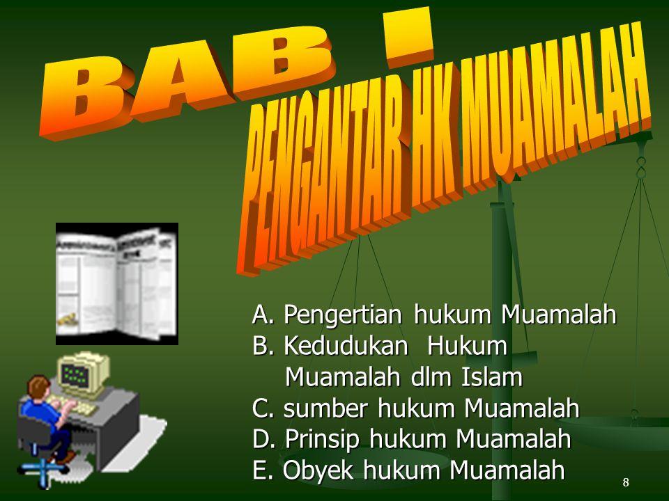 8 A.Pengertian hukum Muamalah B. Kedudukan Hukum Muamalah dlm Islam C.