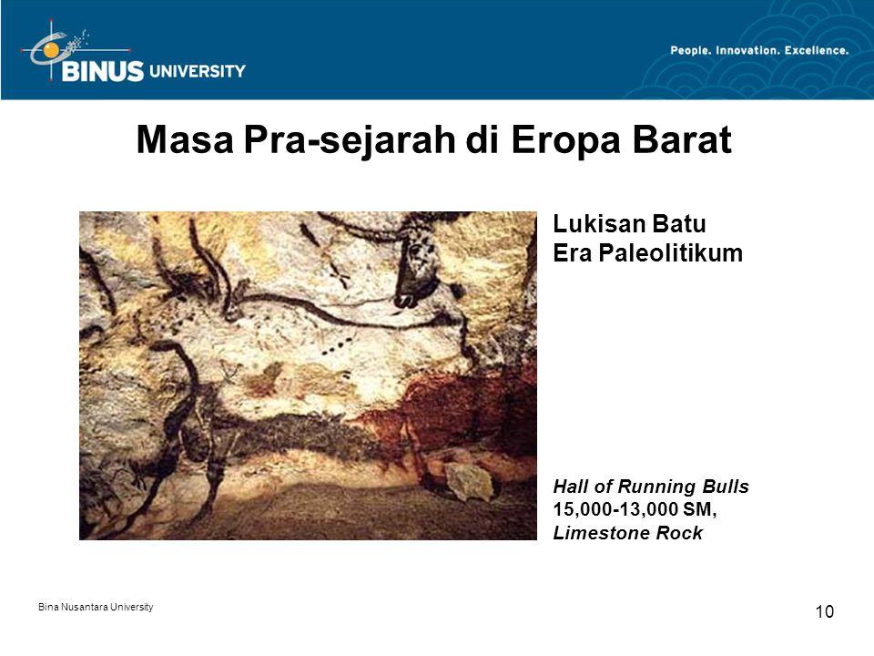Bina Nusantara University 10 Masa Pra-sejarah di Eropa Barat Hall of Running Bulls 15,000-13,000 SM, Limestone Rock Lukisan Batu Era Paleolitikum