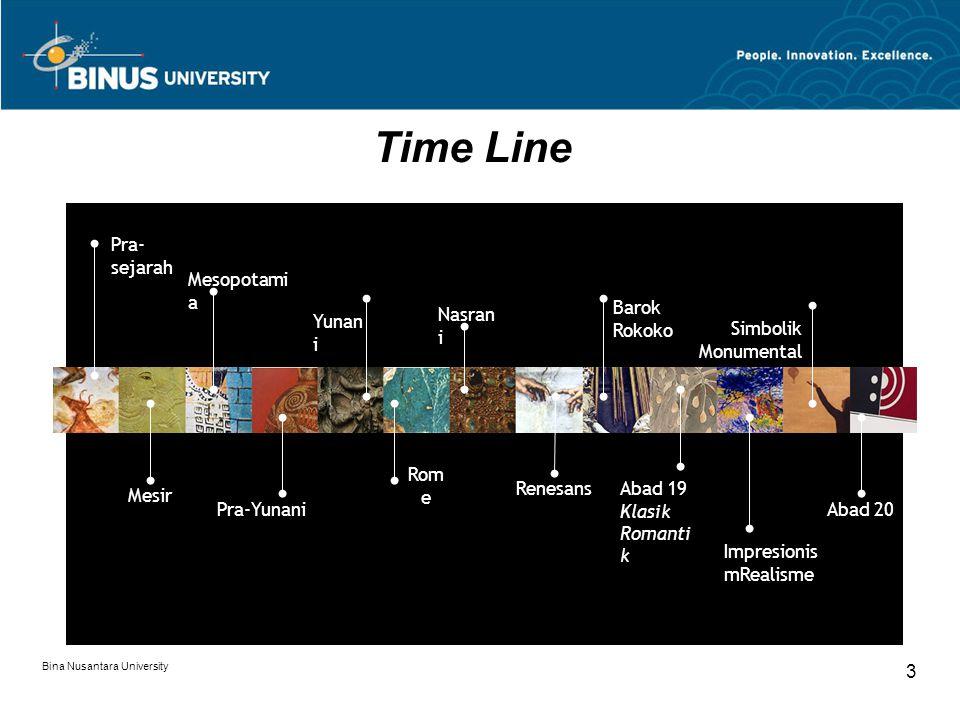 Bina Nusantara University 3 Time Line Pra- sejarah Mesir Mesopotami a Pra-Yunani Yunan i Nasran i Rom e Renesans Barok Rokoko Abad 19 Klasik Romanti k