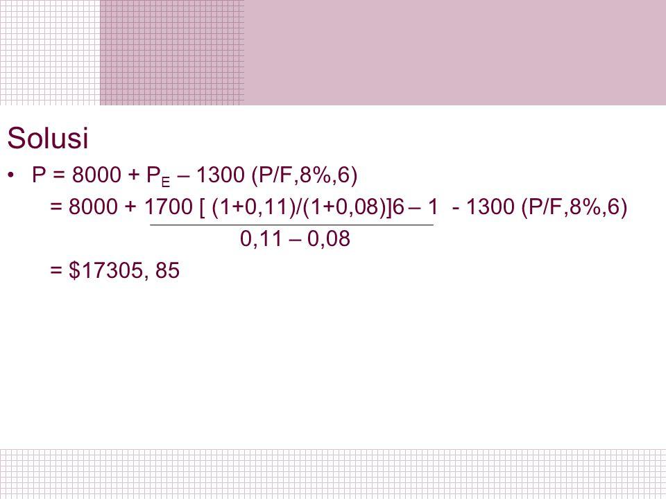 Solusi P = 8000 + P E – 1300 (P/F,8%,6) = 8000 + 1700 [ (1+0,11)/(1+0,08)]6 – 1 - 1300 (P/F,8%,6) 0,11 – 0,08 = $17305, 85