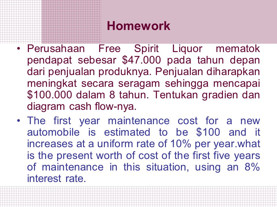 Homework Perusahaan Free Spirit Liquor mematok pendapat sebesar $47.000 pada tahun depan dari penjualan produknya. Penjualan diharapkan meningkat seca