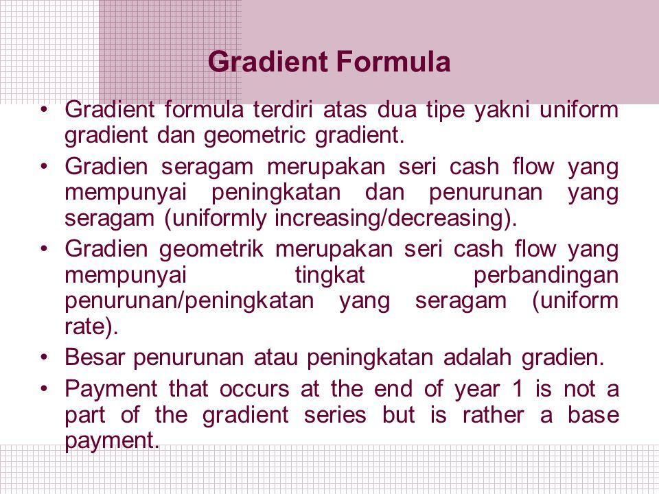 Gradient Formula Gradient formula terdiri atas dua tipe yakni uniform gradient dan geometric gradient. Gradien seragam merupakan seri cash flow yang m