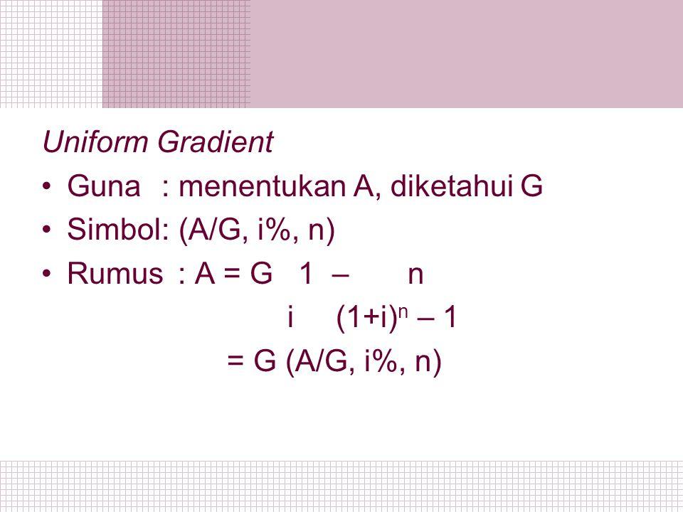 Uniform Gradient Guna : menentukan A, diketahui G Simbol: (A/G, i%, n) Rumus: A = G 1 – n i (1+i) n – 1 = G (A/G, i%, n)
