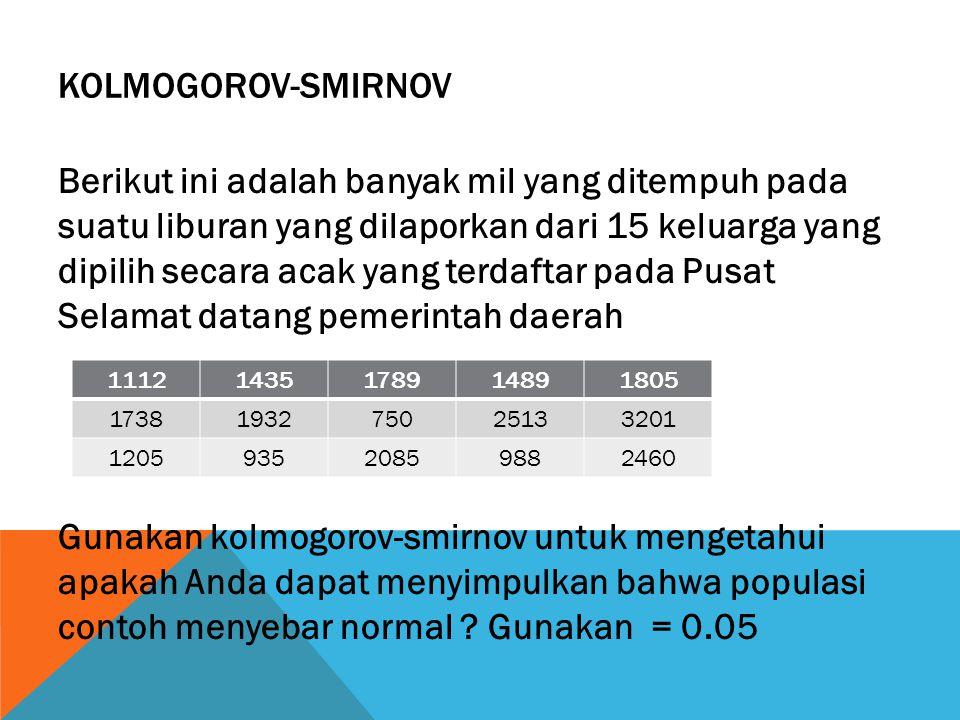 KOLMOGOROV-SMIRNOV Berikut ini adalah banyak mil yang ditempuh pada suatu liburan yang dilaporkan dari 15 keluarga yang dipilih secara acak yang terda