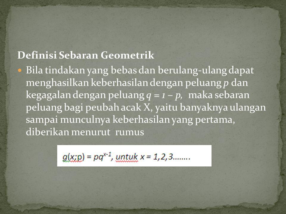 Definisi Sebaran Geometrik Bila tindakan yang bebas dan berulang-ulang dapat menghasilkan keberhasilan dengan peluang p dan kegagalan dengan peluang q = 1 – p, maka sebaran peluang bagi peubah acak X, yaitu banyaknya ulangan sampai munculnya keberhasilan yang pertama, diberikan menurut rumus