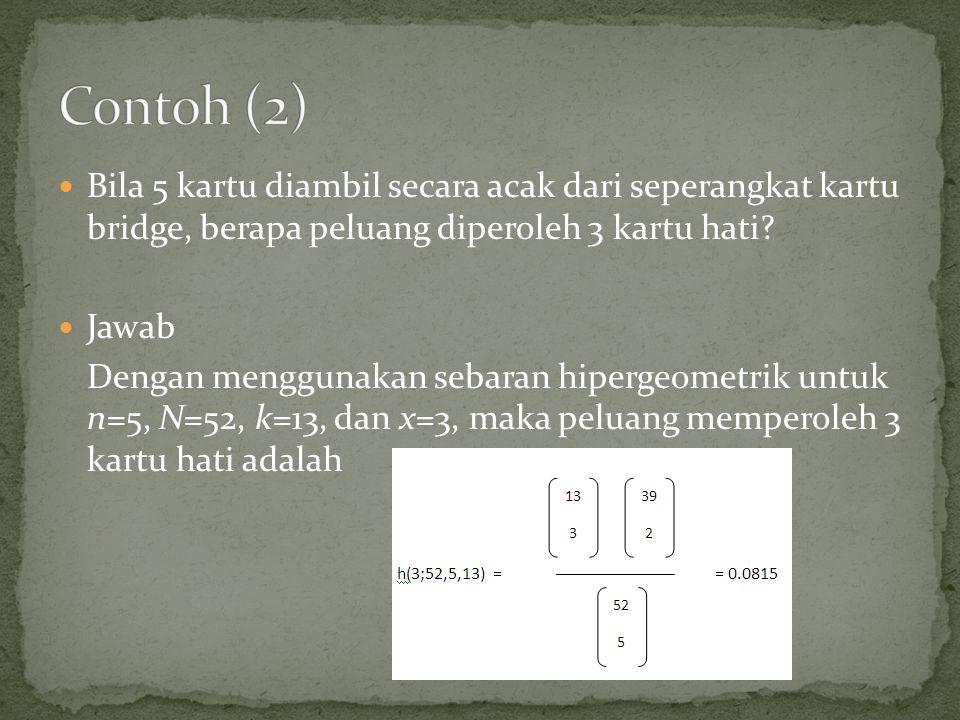 Bila 5 kartu diambil secara acak dari seperangkat kartu bridge, berapa peluang diperoleh 3 kartu hati.