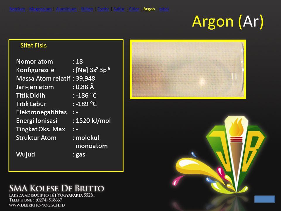 Argon (Ar) Sifat Fisis Nomor atom : 18 Konfigurasi e - : [Ne] 3s 2 3p 6 Massa Atom relatif: 39,948 Jari-jari atom: 0,88 Å Titik Didih: -186  C Titik