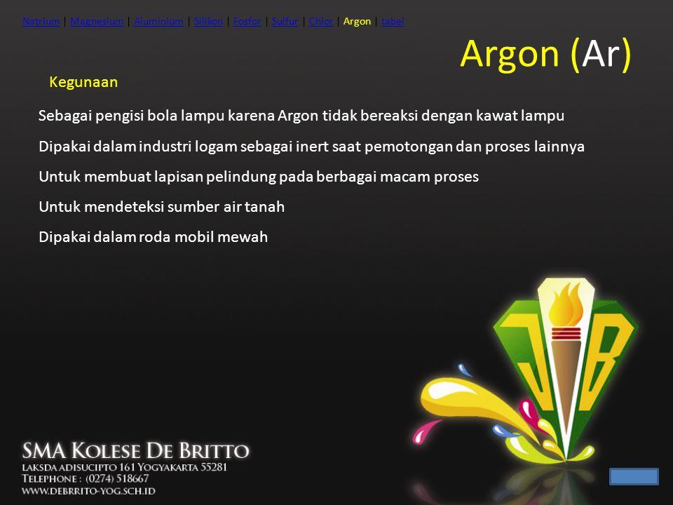 Kegunaan Sebagai pengisi bola lampu karena Argon tidak bereaksi dengan kawat lampu Dipakai dalam industri logam sebagai inert saat pemotongan dan pros