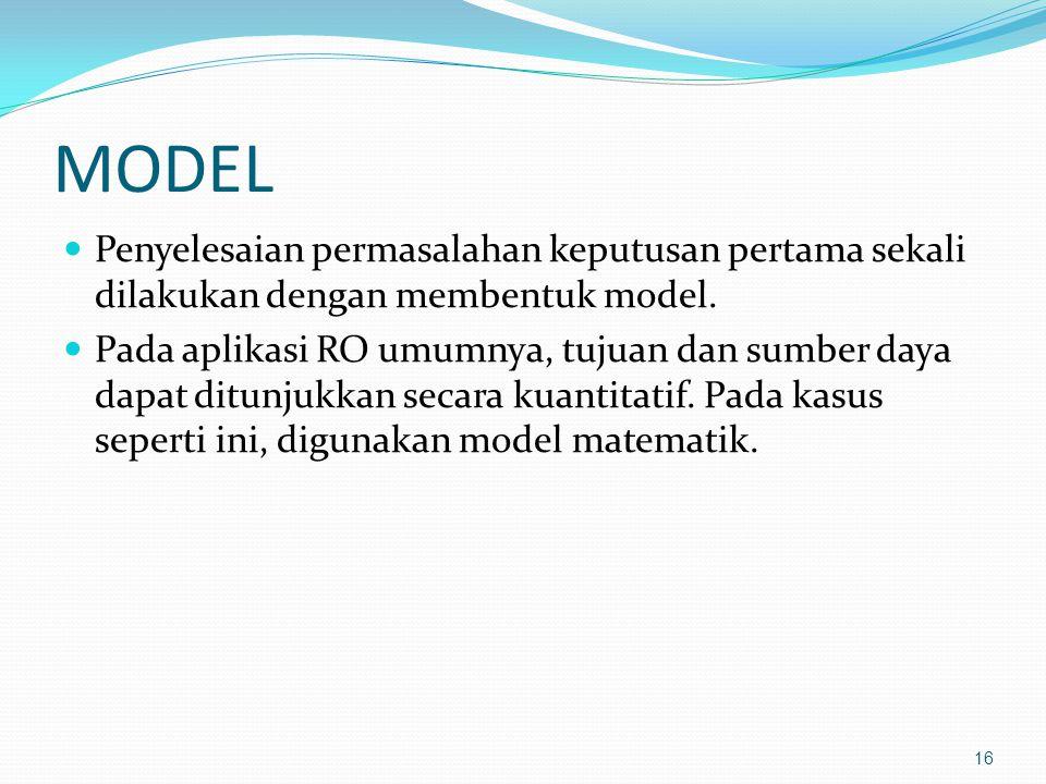 MODEL Penyelesaian permasalahan keputusan pertama sekali dilakukan dengan membentuk model. Pada aplikasi RO umumnya, tujuan dan sumber daya dapat ditu