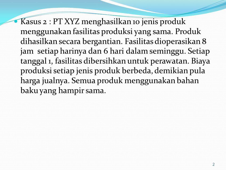 Kasus 2 : PT XYZ menghasilkan 10 jenis produk menggunakan fasilitas produksi yang sama. Produk dihasilkan secara bergantian. Fasilitas dioperasikan 8