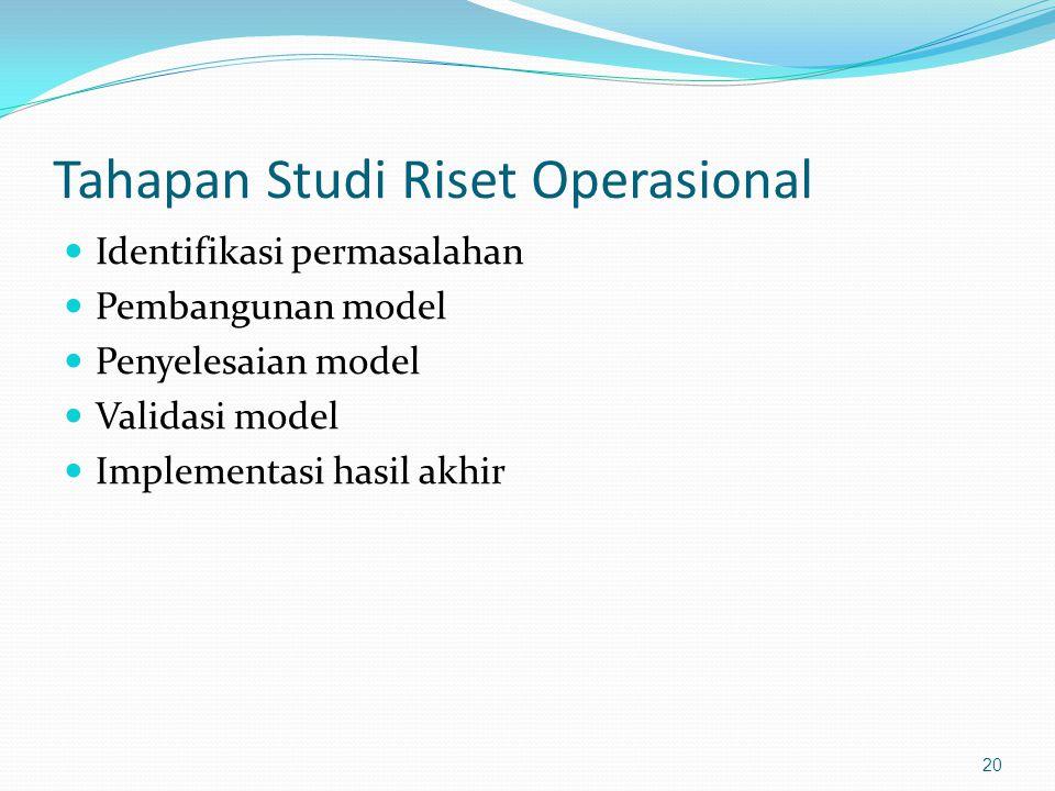 Tahapan Studi Riset Operasional Identifikasi permasalahan Pembangunan model Penyelesaian model Validasi model Implementasi hasil akhir 20
