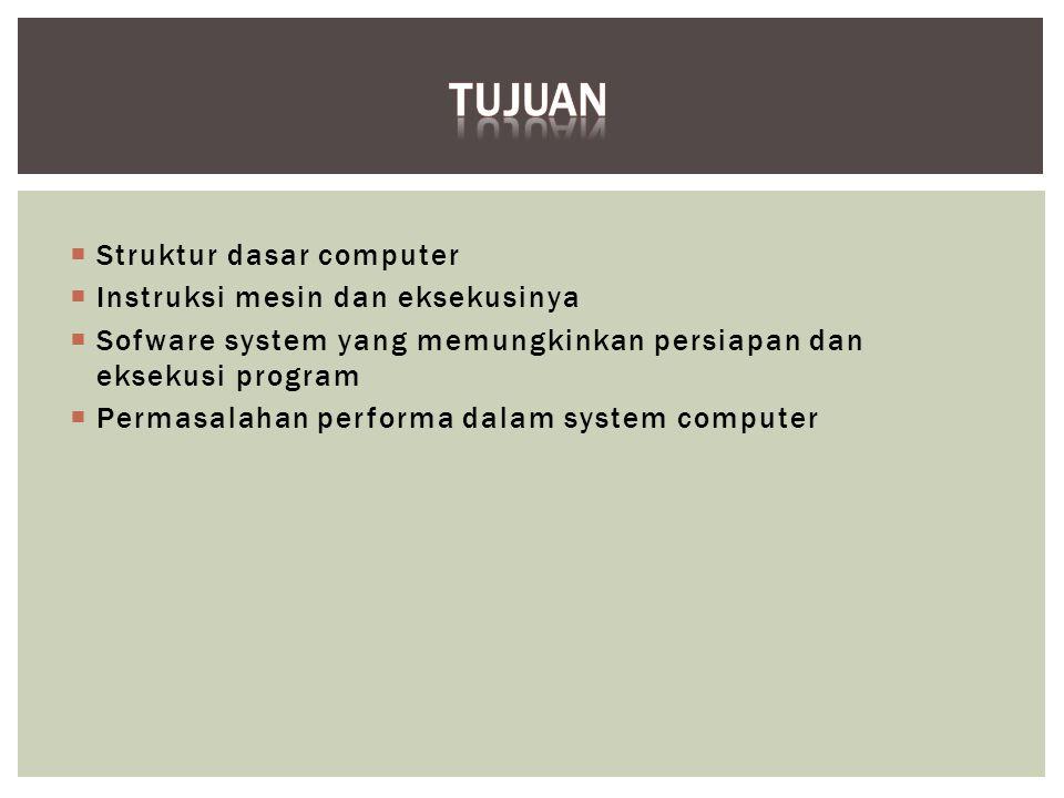  Struktur dasar computer  Instruksi mesin dan eksekusinya  Sofware system yang memungkinkan persiapan dan eksekusi program  Permasalahan performa