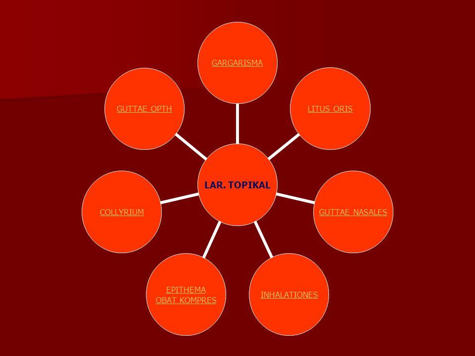 LAR. TOPIKAL GARGARISMALITUS ORIS GUTTAE NASALES INHALATIONES EPITHEMA OBAT KOMPRES COLLYRIUMGUTTAE OPTH