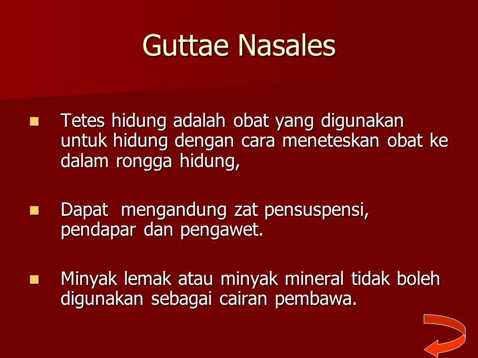 Guttae Nasales Tetes hidung adalah obat yang digunakan untuk hidung dengan cara meneteskan obat ke dalam rongga hidung, Tetes hidung adalah obat yang