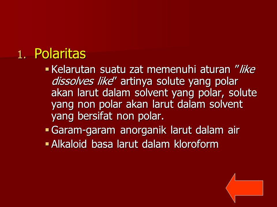 "1. Polaritas  Kelarutan suatu zat memenuhi aturan ""like dissolves like"" artinya solute yang polar akan larut dalam solvent yang polar, solute yang no"