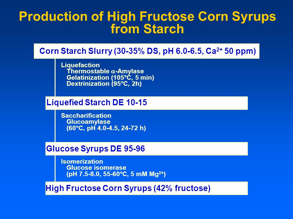 Corn Starch Slurry (30-35% DS, pH 6.0-6.5, Ca 2+ 50 ppm) Production of High Fructose Corn Syrups from Starch Liquefaction Thermostable  -Amylase Gela