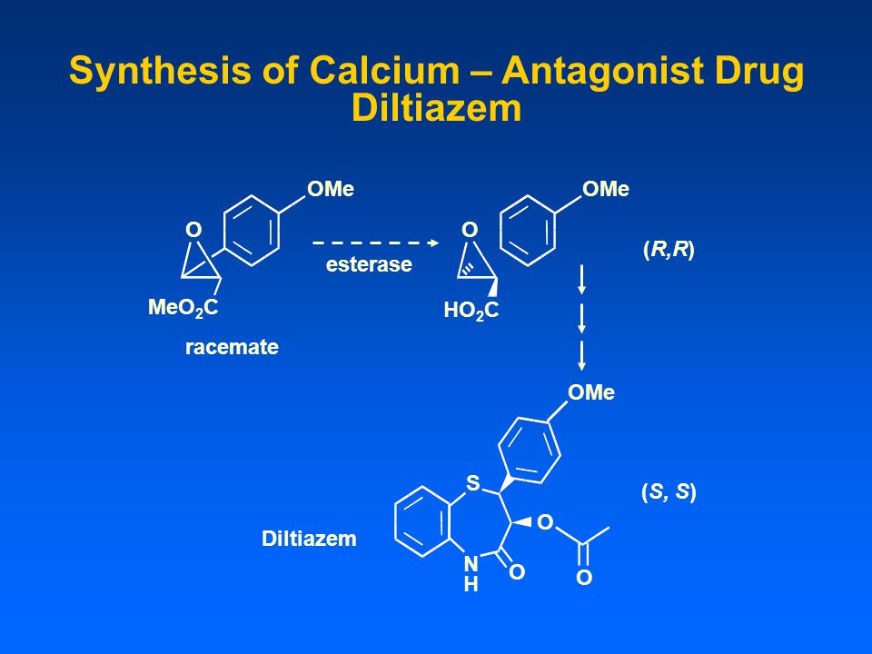 Synthesis of Calcium – Antagonist Drug Diltiazem OMe O MeO 2 C esterase racemate O HO 2 C OMe (R,R) (S, S) Diltiazem N H O O O OMe S