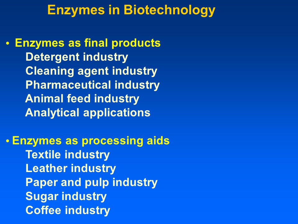 Enzymes in Biotechnology Enzymes as final products Detergent industry Cleaning agent industry Pharmaceutical industry Animal feed industry Analytical