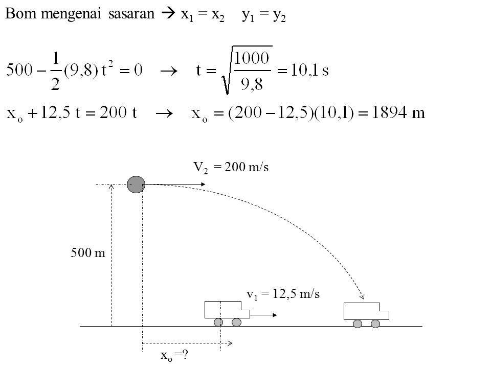 V 2 = 200 m/s v 1 = 12,5 m/s x o =? 500 m Benda 2 = Bom
