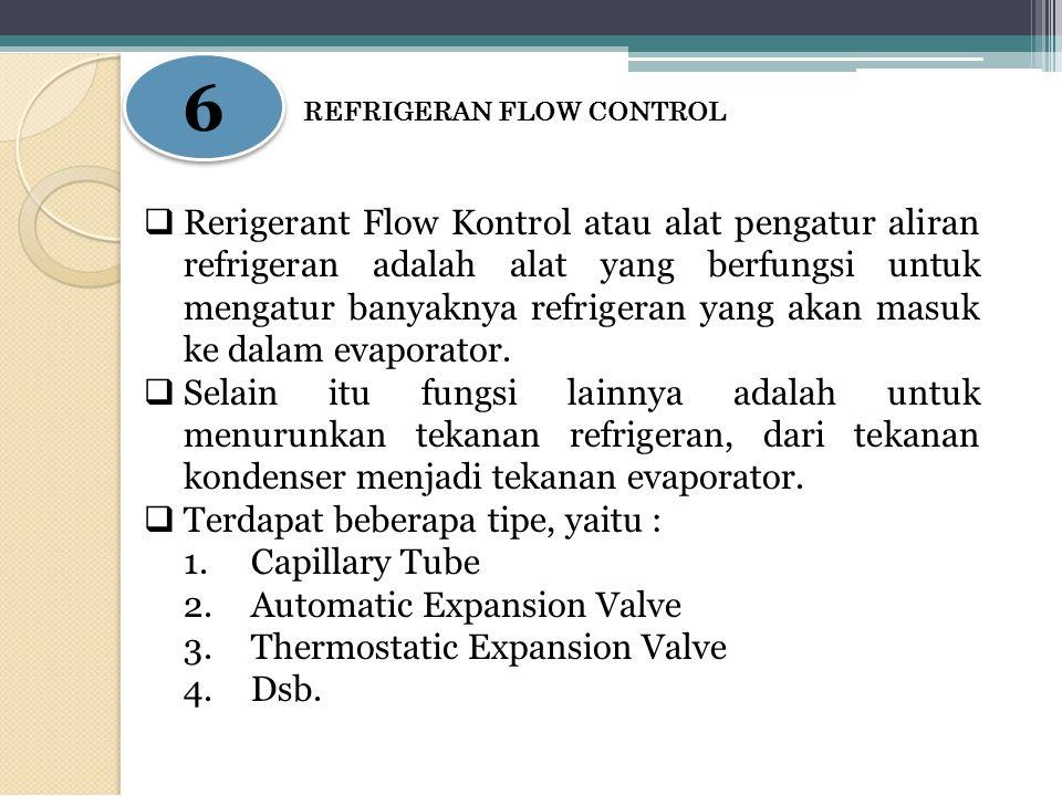 6 6 REFRIGERAN FLOW CONTROL  Rerigerant Flow Kontrol atau alat pengatur aliran refrigeran adalah alat yang berfungsi untuk mengatur banyaknya refrige