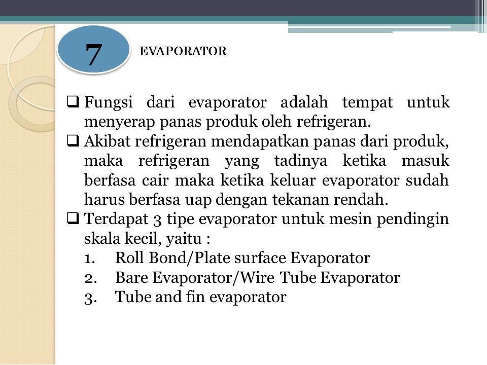 7 7 EVAPORATOR  Fungsi dari evaporator adalah tempat untuk menyerap panas produk oleh refrigeran.  Akibat refrigeran mendapatkan panas dari produk,