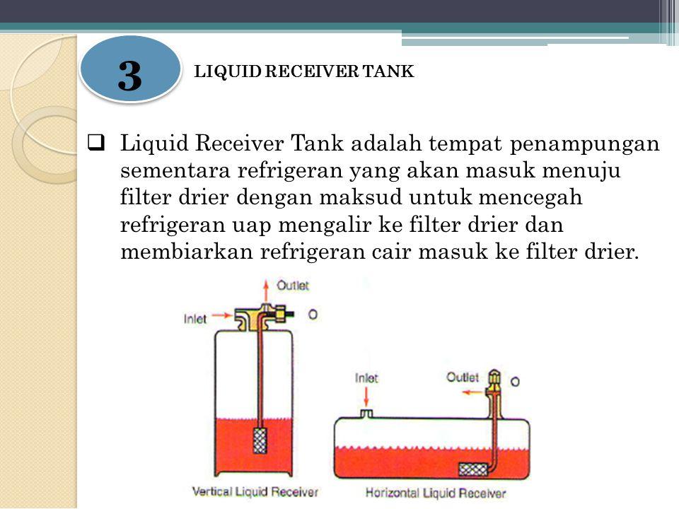 3 3 LIQUID RECEIVER TANK  Liquid Receiver Tank adalah tempat penampungan sementara refrigeran yang akan masuk menuju filter drier dengan maksud untuk