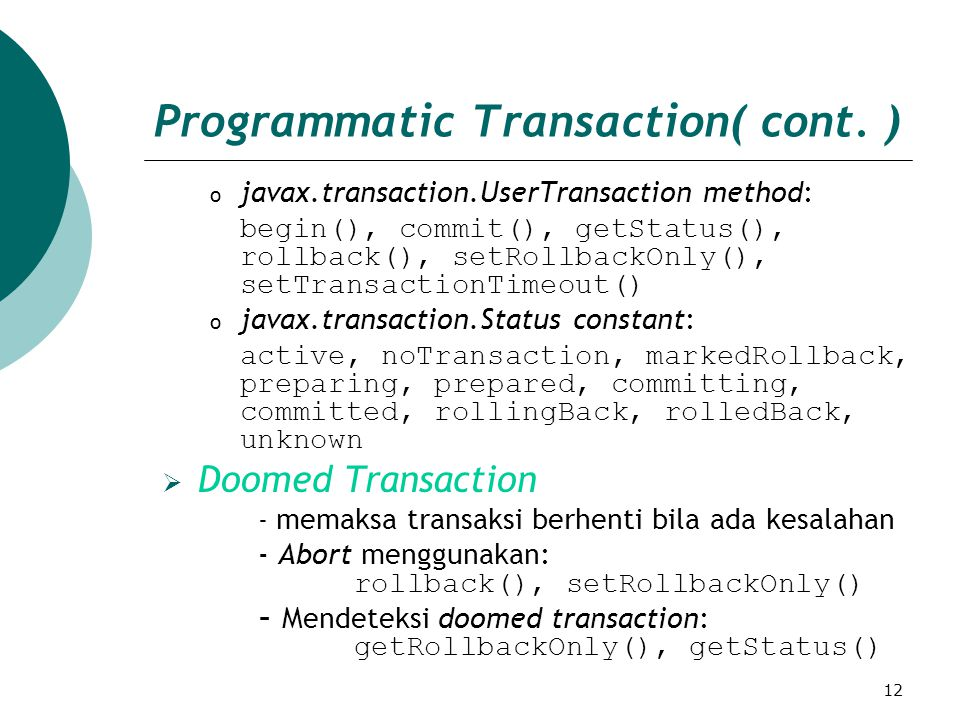 12 Programmatic Transaction( cont.