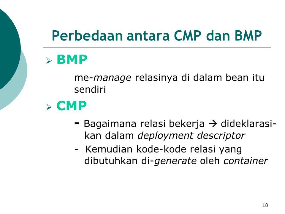 18 Perbedaan antara CMP dan BMP  BMP me-manage relasinya di dalam bean itu sendiri  CMP - Bagaimana relasi bekerja  dideklarasi- kan dalam deployment descriptor - Kemudian kode-kode relasi yang dibutuhkan di-generate oleh container