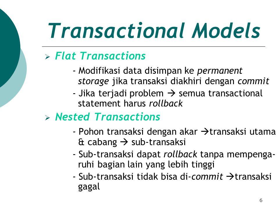 7 Controlling Transaction Boundaries in EJB Transaction Boundaries - Menandai awal dan akhir dari transaksi - Berisi command: Begin : mengawali transaksi baru Commit: menerapkan semua operasi / perubahan yang diinginkan dan mengakhiri transaksi Rollback: mengembalikan ke kondisi semula semua operasi/perubahan dan mengakhiri tran- saksi Dikontrol dengan:  Programmatic Transactions - Bean code mengawali & mengakhiri transaksi - Bean membuat begin statement & commit atau abort statement - Hanya bekerja dengan session beans