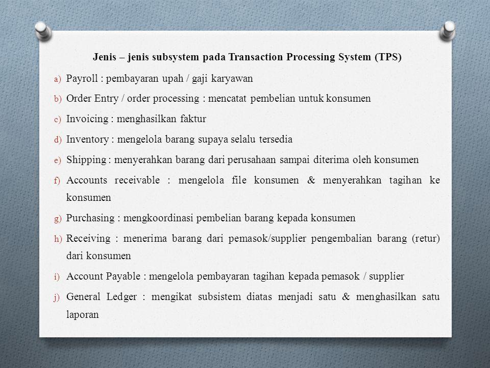 Jenis – jenis subsystem pada Transaction Processing System (TPS) a) Payroll : pembayaran upah / gaji karyawan b) Order Entry / order processing : menc