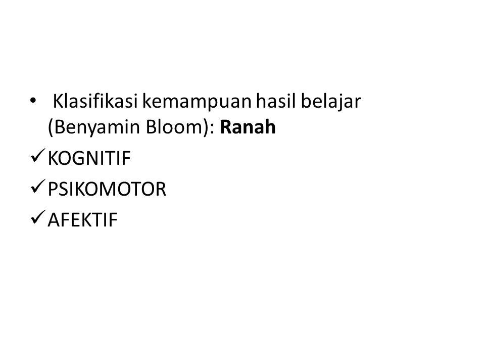Klasifikasi kemampuan hasil belajar (Benyamin Bloom): Ranah KOGNITIF PSIKOMOTOR AFEKTIF