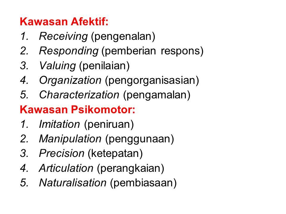 Kawasan Afektif: 1.Receiving (pengenalan) 2.Responding (pemberian respons) 3.Valuing (penilaian) 4.Organization (pengorganisasian) 5.Characterization