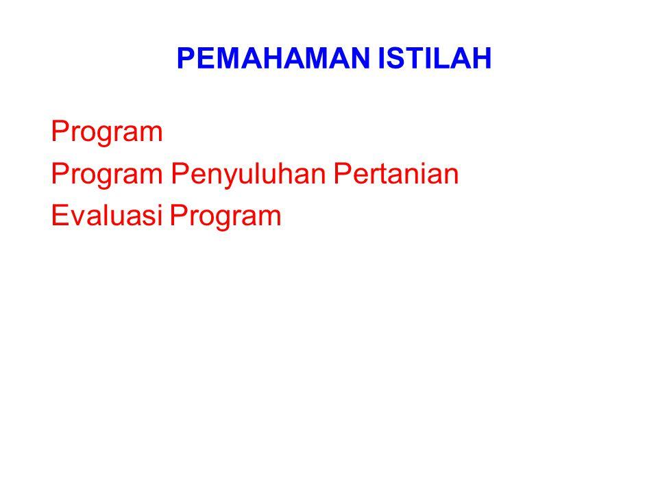 PEMAHAMAN ISTILAH Program Program Penyuluhan Pertanian Evaluasi Program