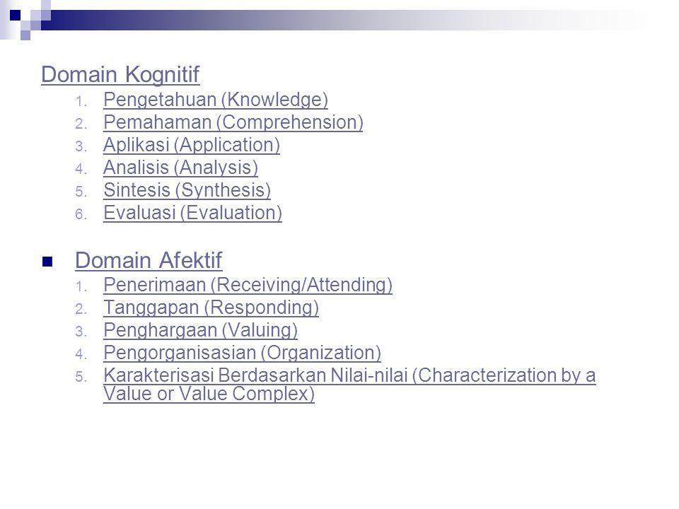 Domain Kognitif 1.Pengetahuan (Knowledge) Pengetahuan (Knowledge) 2.