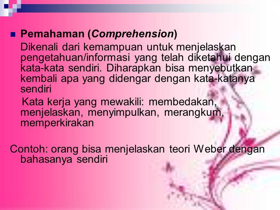Pemahaman (Comprehension) Dikenali dari kemampuan untuk menjelaskan pengetahuan/informasi yang telah diketahui dengan kata-kata sendiri.